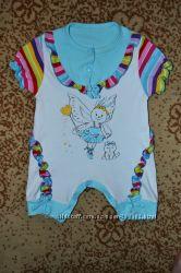 Летний голубенький блестящий ромпер песочник 3-9 месяцев