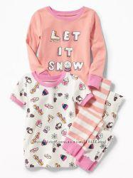 Хлопковые пижамы  Old Navy для девочек 18-24 мес, 2 и 3 года