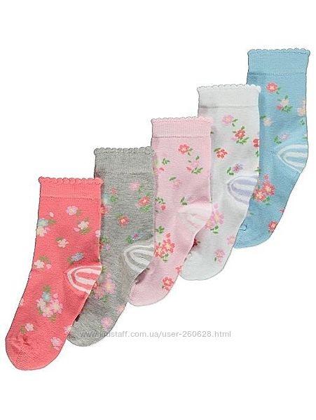 Носочки цветные и однотонные George  для девочек и мальчиков