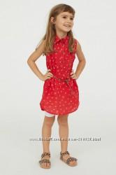 Модное платье-рубашка с поясом H&M для девочек 5-6, 6-7 и 7-8 лет