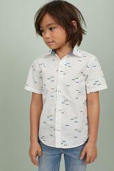 Рубашки с коротким рукавом Childrens Place и H&M  на 4-5 и 10-12 лет
