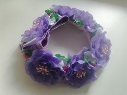 Резинка на пучок с цветами
