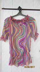 Фирменная яркая летняя шифоновая блузка Bonprix b. p. c. 42-44-46, 36-38-40