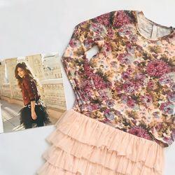 нежное нарядное дизайнерское платье с цветочным принтом на р128-146