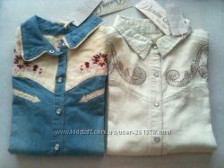 Приталенные джинсовые рубашки с вышивкой, стразами, Англия