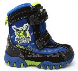 Зимние ботинки для мальчика SUPER GEAR black-blue