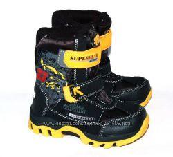 Термоботинки зимние мальчику ТМ Super Gear black-yellow