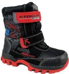 Термоботинки зимние мальчику ТМ Super Gear Black-red