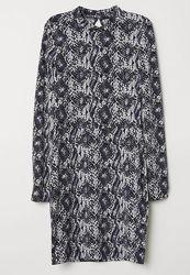 Платье Н&М модный звериный принт р. S. Вырез на спине. Ткань джерси.