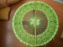 Скатерть вязаная зелёная, салфетка, ручная работа