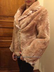 Шуба пудрового цвета. Шубка зимняя. Пудровая. Модная шубейка. Размер 44-48