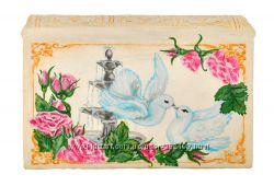 Оригинальная шкатулка для ювелирных украшений Белые голуби
