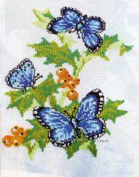 Вышивка Картина Бабочки в цветах