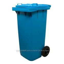 Бак для мусора на колесах с ручкой 120 литров