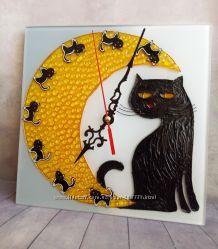 Настенные часы Лунная кошка