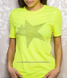 Женская нарядная футболка со звездой из страз, хлопок, вискоза, 44-46-48