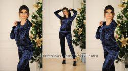Женский бархатный спортивный костюм, бархат муар, 44-46, синий, виш
