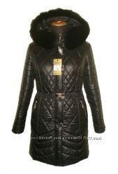 стильная курточка зимняя 42-56р длина 90см