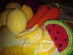 Вязаная еда, фрукты, овощи