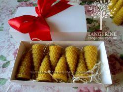 Натуральные свечи елочки, Новый год, Рождество, медово-восковые