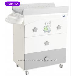 Пеленальный комод CAM Coniglio с ванночкой Бело-серый G260