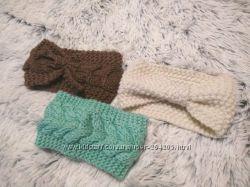 Теплые вязаные повязки три цвета