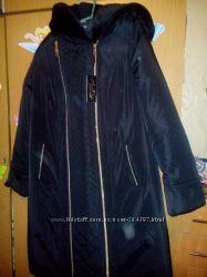 Продам черное пальто с мутоном София р. 60