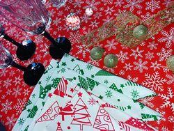 Новогодние скатерти, раннеры, дорожки, подушки, салфетки