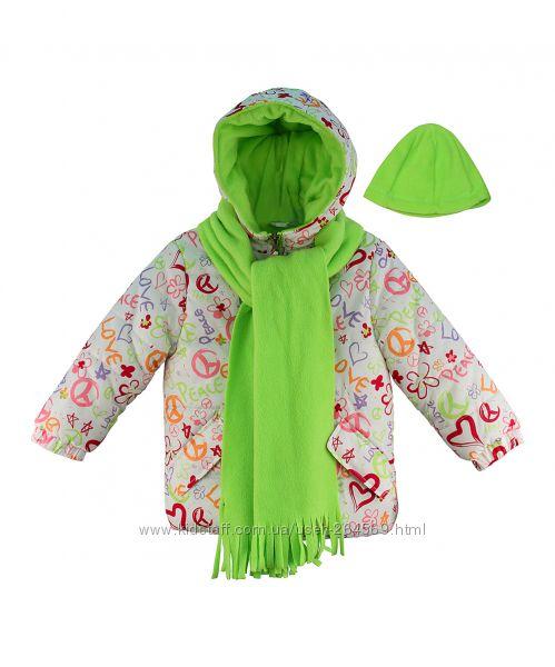 Яркая куртка с шапкой и шарфом Pink Platinum для девочки салатовая бежевая