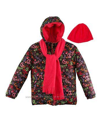 Классная куртка с шапкой и шарфом Pink Platinum для девочки черная розовая