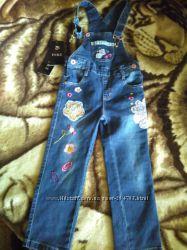 Новый джинсовый полукомбинезон yuke на рост 104-110