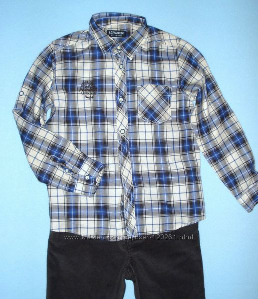 Клетчатая Рубашка-Хлопковая фланель-122см- Waikiki- Рубашки-104-128см