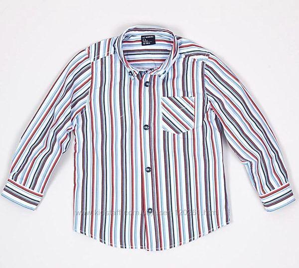Белая Рубашка-Сине-Красные полоски-110см- Нарядные Рубашки-104-140- Waikiki