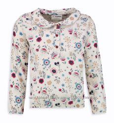 Блузка на резинке-цветоч. принт-122-140-Белые/Школьные Блузки-Рубашки Waiki