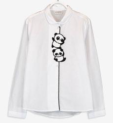 Белая Блузка-Панды/Котик-122--146см- Нарядные Блузки LC Waikiki 104-146cm