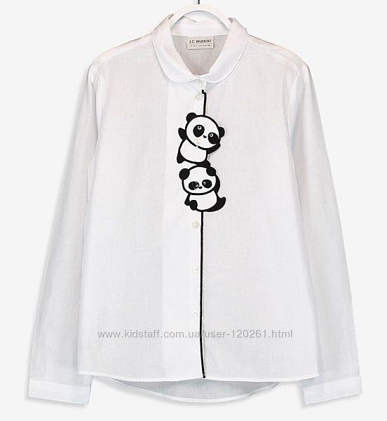Белая Блузка-Панды-128--146см- Нарядные/Школьные Блузки LC Waikiki 104-146