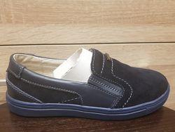 Кожаные слипоны, туфли синие