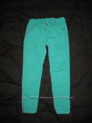 9-11 лет, брюки скинни Zara стрейчевые, бирюзовые