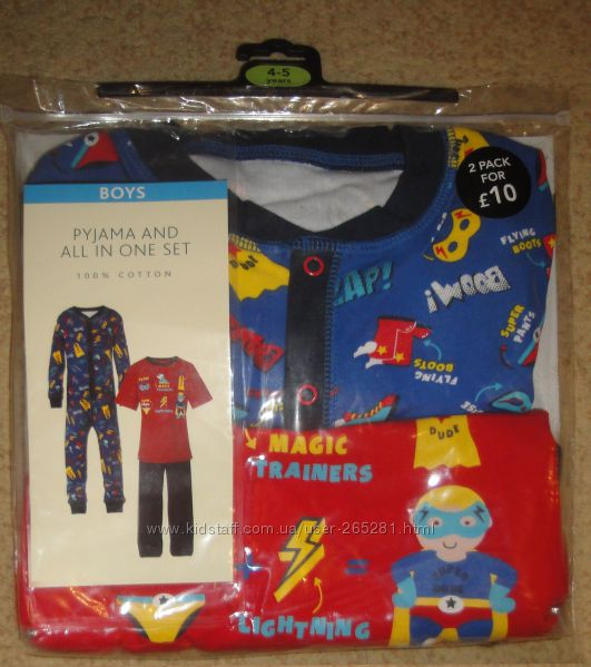 Дёшево Комплект человечек и пижама George Англия, можно поштучно
