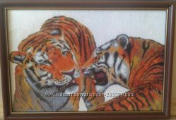 Вышитая картина Тигры