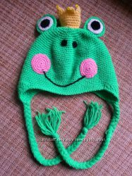 Уникальная шапка Царевна Лягушка. Возраст 4-6 лет.