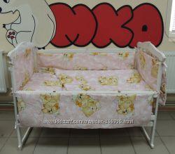 Детская кроватка, комплект постельного белья 8в1, матрасик, 11 элементов
