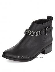 Демисезонные ботинки челси оксфорд на низком ходу с декоративной цепью и пр