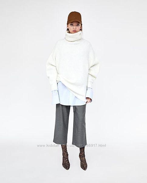 Широкие штаны кюлоты укороченные брюки высокая посадка c поясом от zara