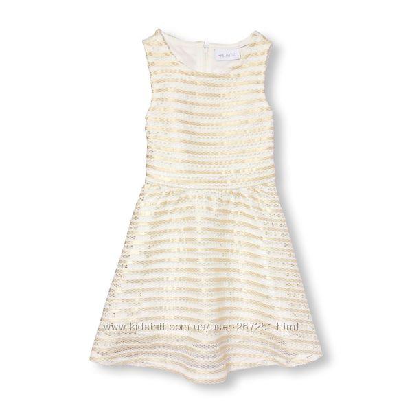Золотое платье от children place 5-6 и 7-8лет