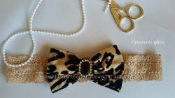 Леопардовый бантик на повязке