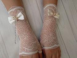 Митенки-перчатки молочного цвета