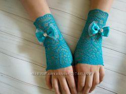 Митенки перчатки бирюзового цвета