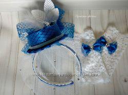 Шляпка-вуалетка на обруче цвет электрик