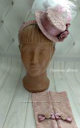 Шляпка на обруче цвет пудра